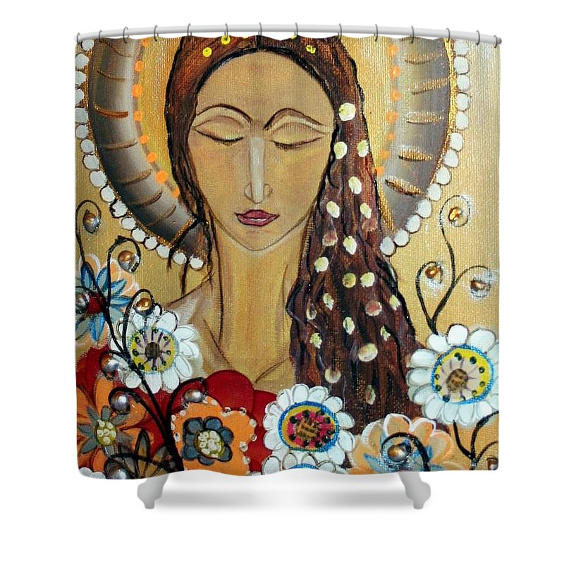 Art Shower Curtain featuring the painting My Angel Modern Icon by Luiza Vizoli