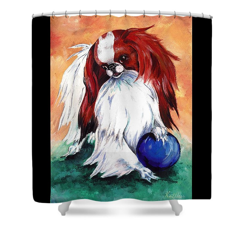 Japanese Chin Shower Curtain featuring the painting My Ball by Kathleen Sepulveda