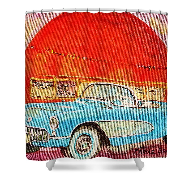 Montreal Shower Curtain featuring the painting My Blue Corvette At The Orange Julep by Carole Spandau