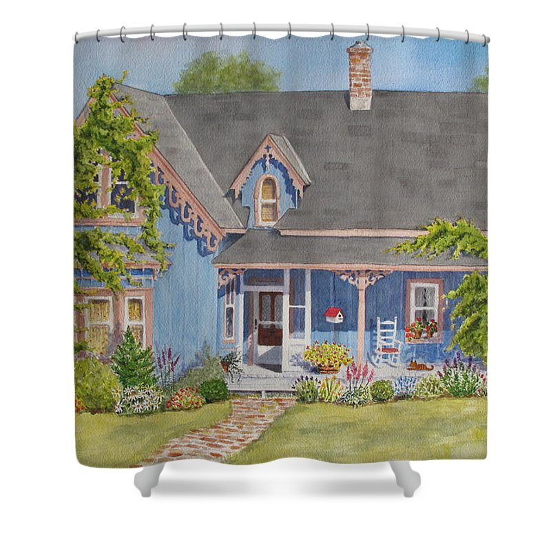 House Shower Curtain featuring the painting My Blue Heaven by Mary Ellen Mueller Legault