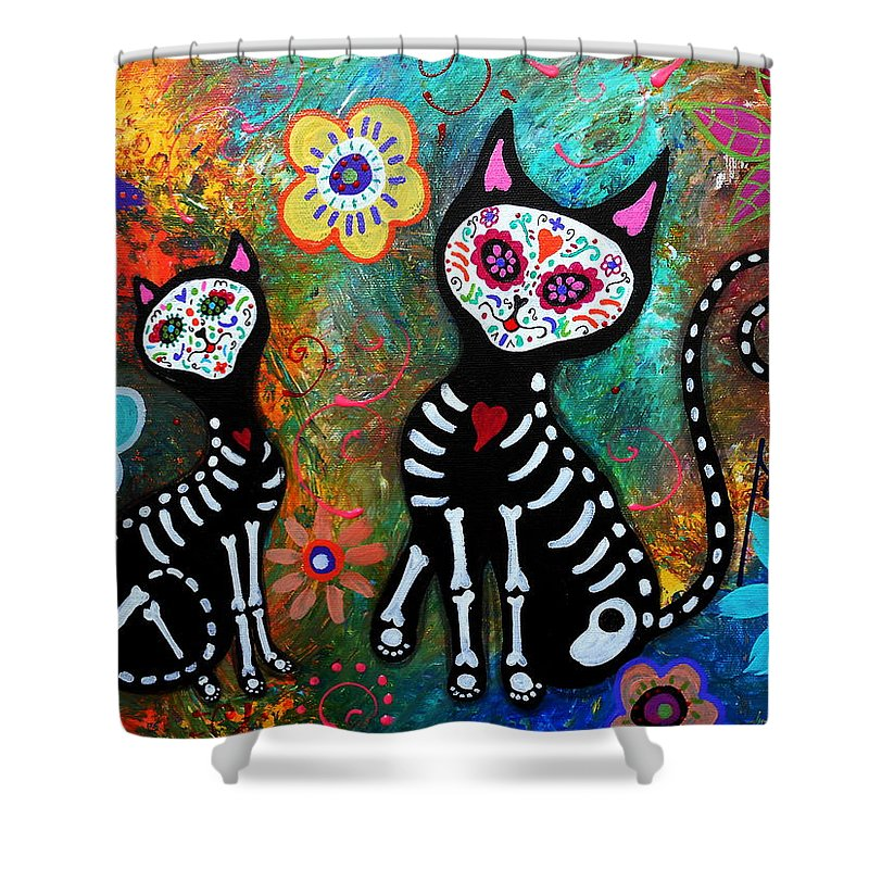 Day Of The Dead Shower Curtain Featuring Painting My Cats Dia De Los Muertos By