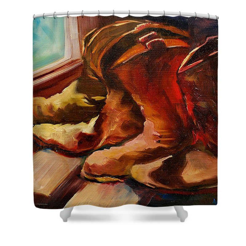 Boots Shower Curtain featuring the painting My Favorite Boots by Diane Whitehead