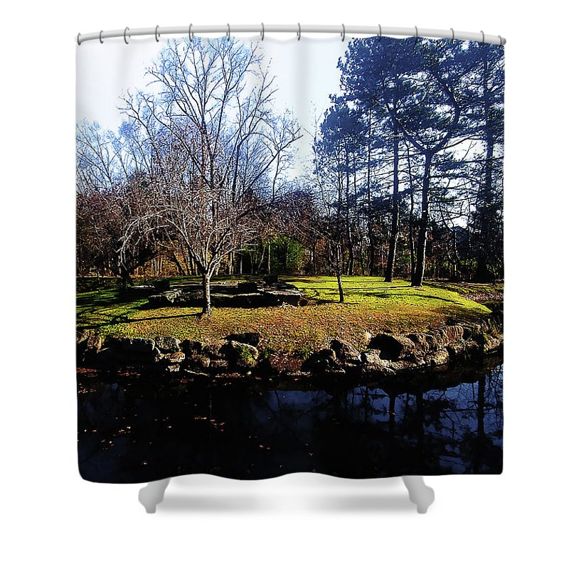 Late Autumn Shower Curtain featuring the photograph My Favorite Pond by Roger Bester