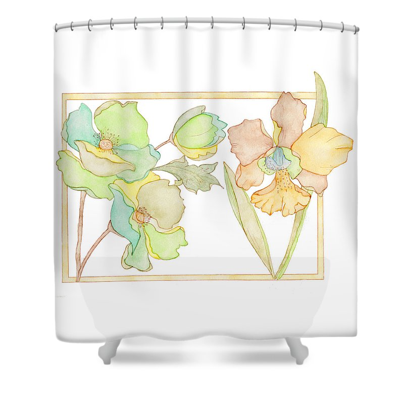 Watercolour Shower Curtain featuring the painting My Favourite Flowers by Eva Brejlova