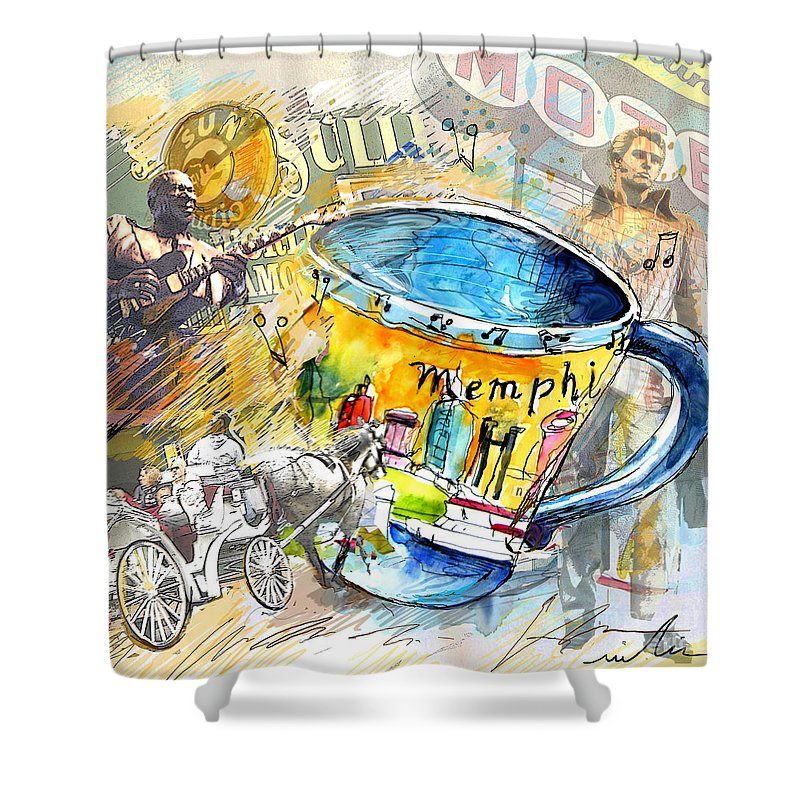 Coffee Shower Curtain featuring the painting My First Memphis Mug by Miki De Goodaboom