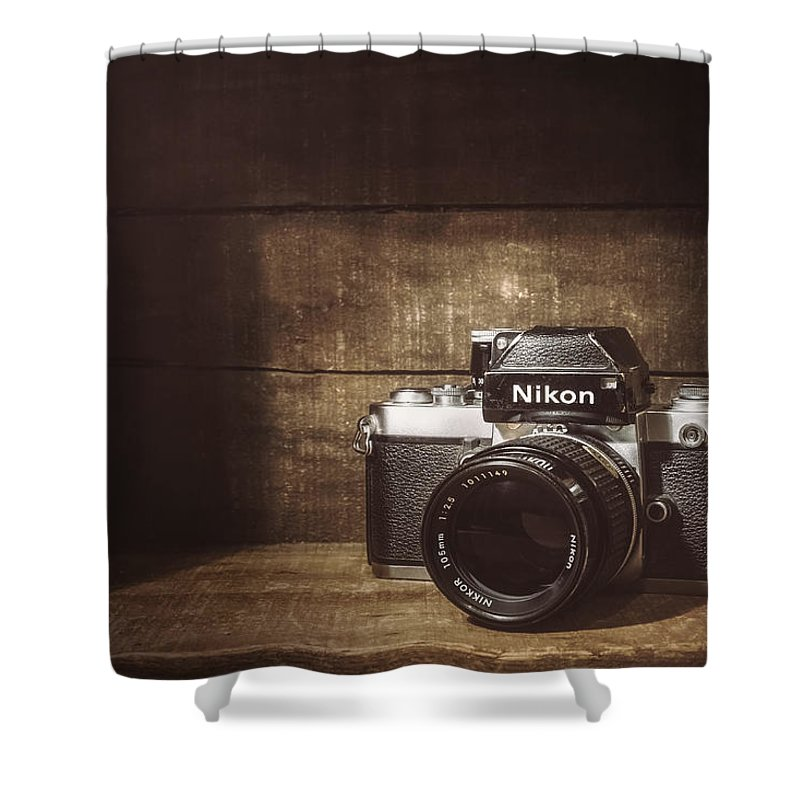 Nikon F2 Shower Curtain featuring the photograph My First Nikon Camera by Scott Norris