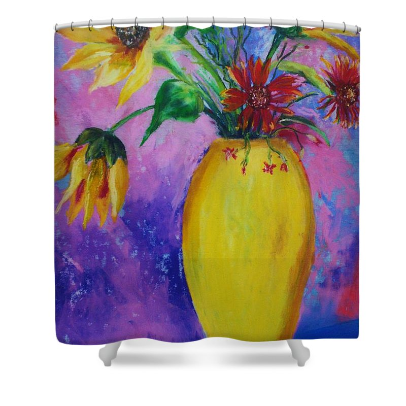 Sunflowers Shower Curtain featuring the painting My Flowers by Melinda Etzold