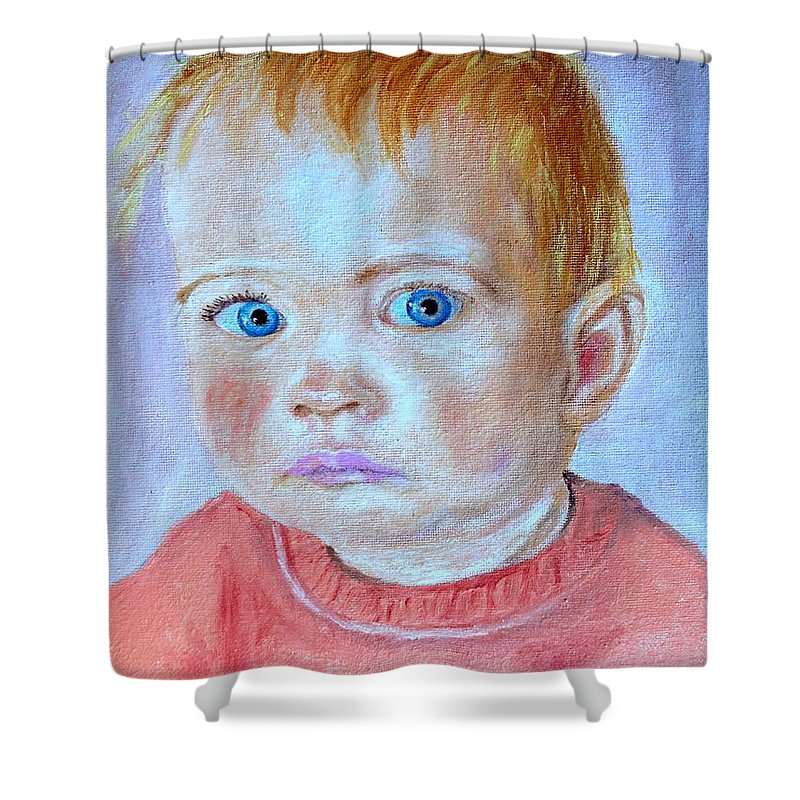 Leonie Shower Curtain featuring the painting My Granddaughter Leonie by Helmut Rottler