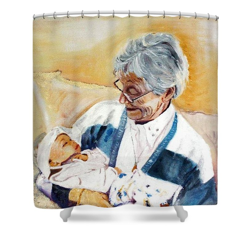 Portrait Shower Curtain featuring the painting my granddaughter Leonie with her great grandmum by Helmut Rottler