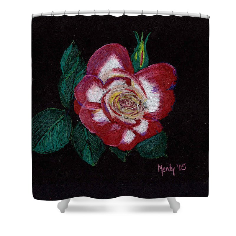 Rose Shower Curtain featuring the pastel My Grandma's Rose by Mendy Pedersen