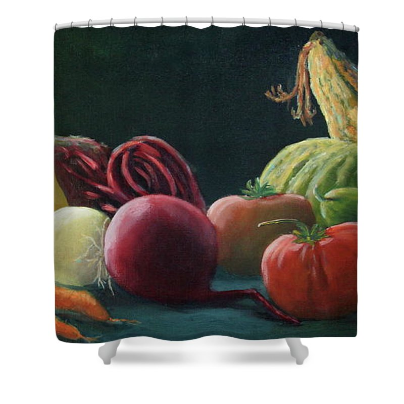 Zucchini Shower Curtain featuring the painting My Harvest Vegetables by Lorraine Vatcher
