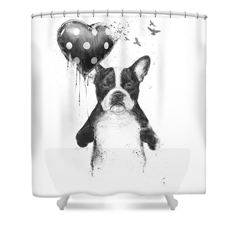 Bulldog Shower Curtain featuring the mixed media My Heart Goes Boom by Balazs Solti