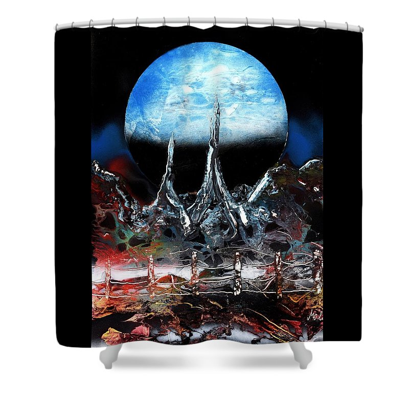 Fantasy Shower Curtain featuring the painting My Home by Nandor Molnar