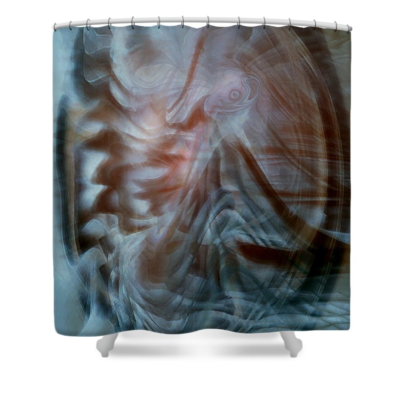 Abstract Art Shower Curtain featuring the digital art My Kingdom by Linda Sannuti