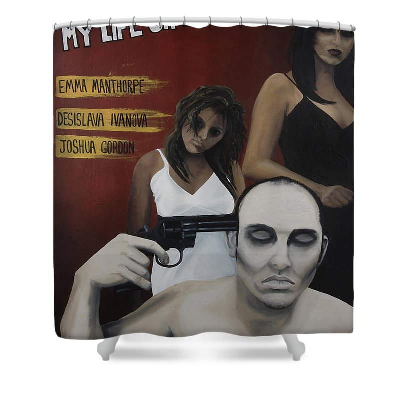 Movie Poster Shower Curtain featuring the painting My Life Oh Roulette by Kelly Jade King