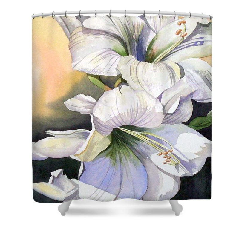 Flower Shower Curtain featuring the painting My Love by Tatiana Escobar