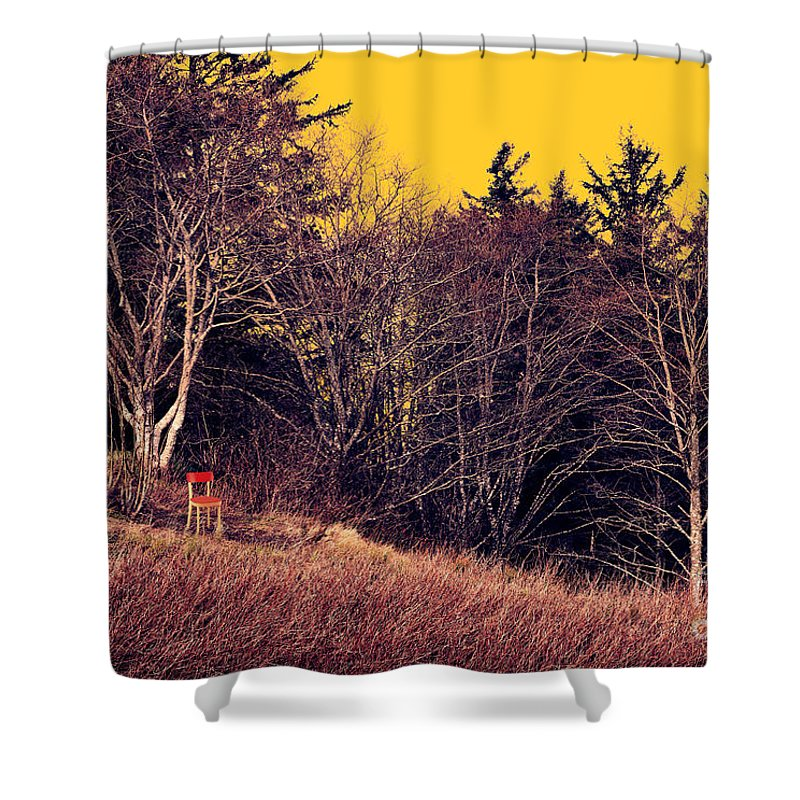 Landscape Shower Curtain featuring the painting My Neighbor's Chair by Robert Todd