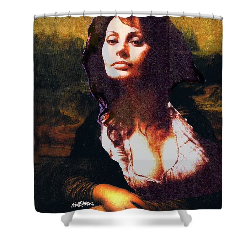 Mona Lisa Shower Curtain featuring the digital art My Real Mona Lisa by Seth Weaver