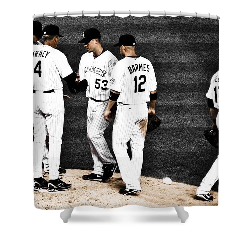 Baseball Shower Curtain featuring the photograph My Rock Collection - Colorado Rockies by Marilyn Hunt