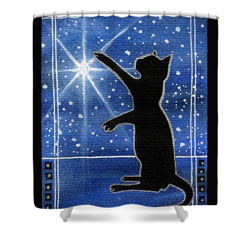 My Shinning Star Shower Curtain featuring the painting My Shinning Star - Christmas Cat by Dora Hathazi Mendes