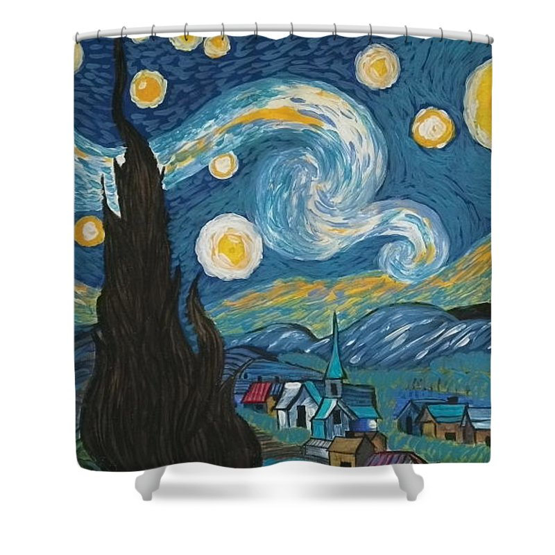 Vincent Shower Curtain featuring the painting My Starry Nite by Angela Miles Varnado