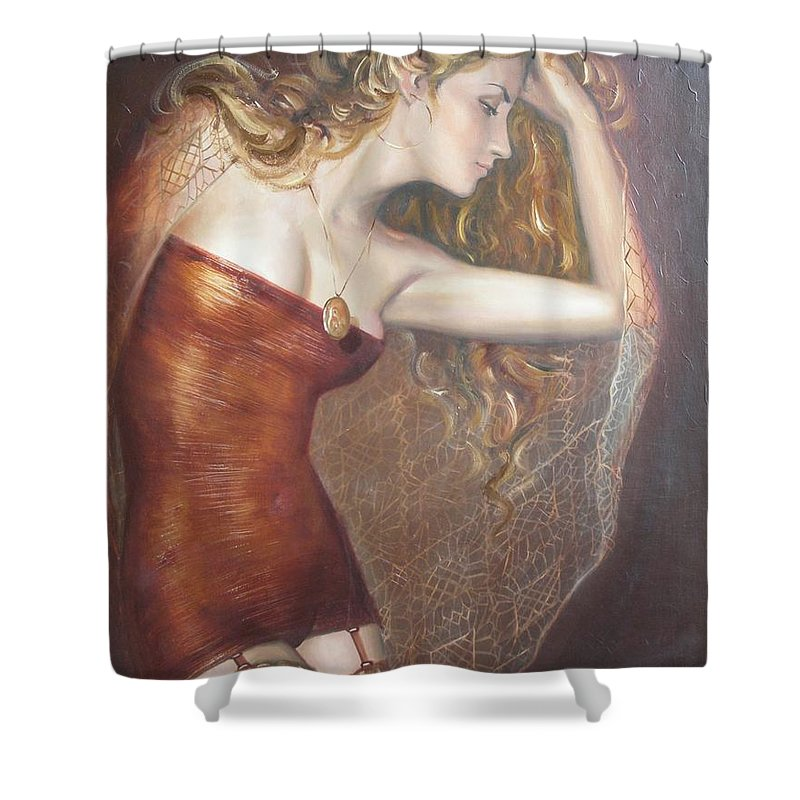 Ignatenko Shower Curtain featuring the painting My Talisman by Sergey Ignatenko