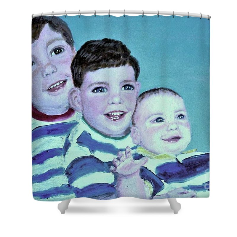 Children Shower Curtain featuring the painting My Three Sons by Laurie Morgan