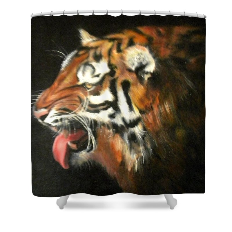 Tiger Shower Curtain featuring the painting My Tiger - The Year Of The Tiger by Jordana Sands