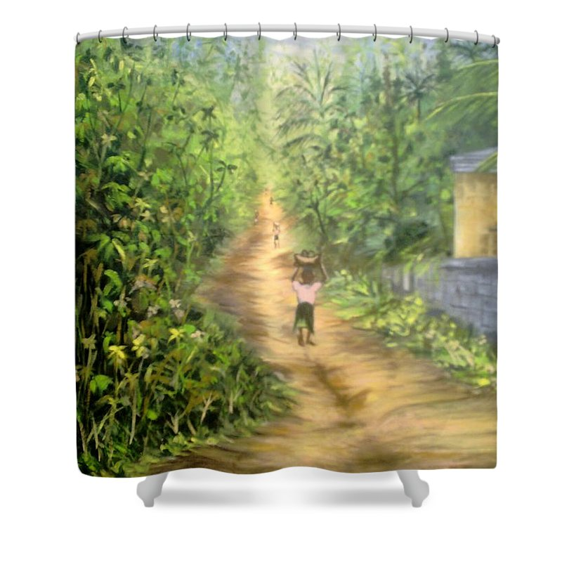Culture Shower Curtain featuring the painting My Village by Olaoluwa Smith
