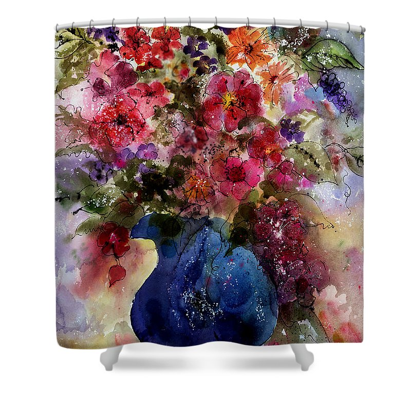 Floral Shower Curtain featuring the painting My Wildflowers by Barbara Colangelo