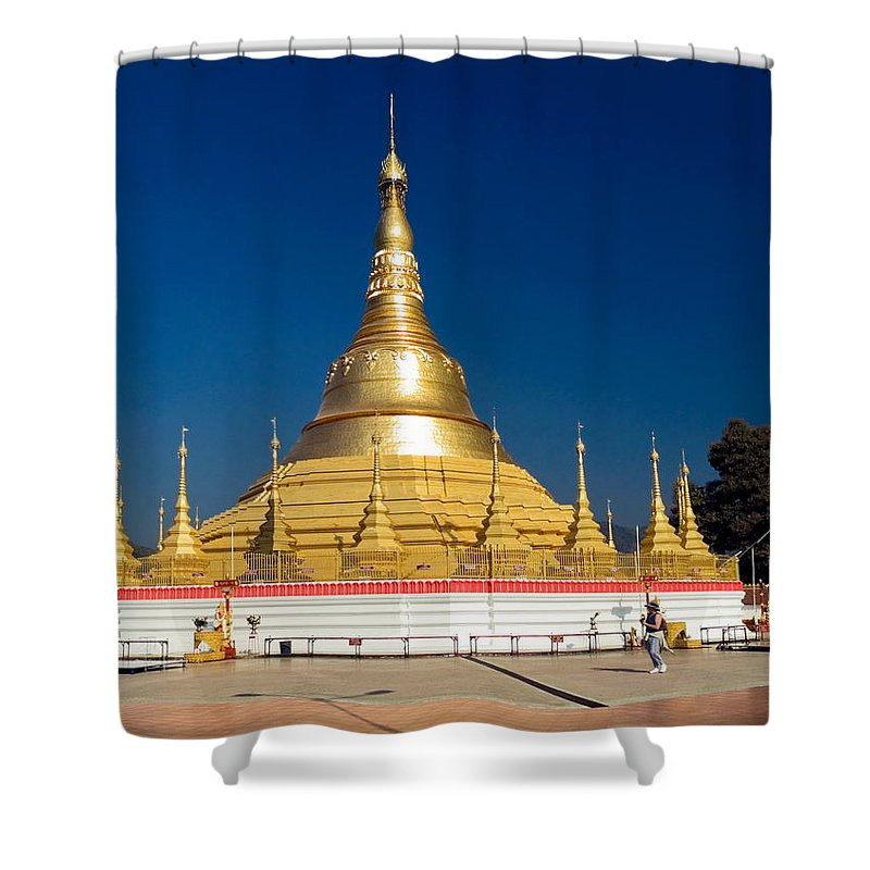 Shan-style Temple Shower Curtain featuring the photograph Myanmar Temple by Sally Weigand