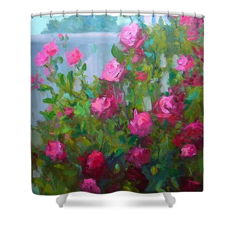 Climing Red Roses On Fence Shower Curtain featuring the painting Myback Yard Roses by Patricia Kness