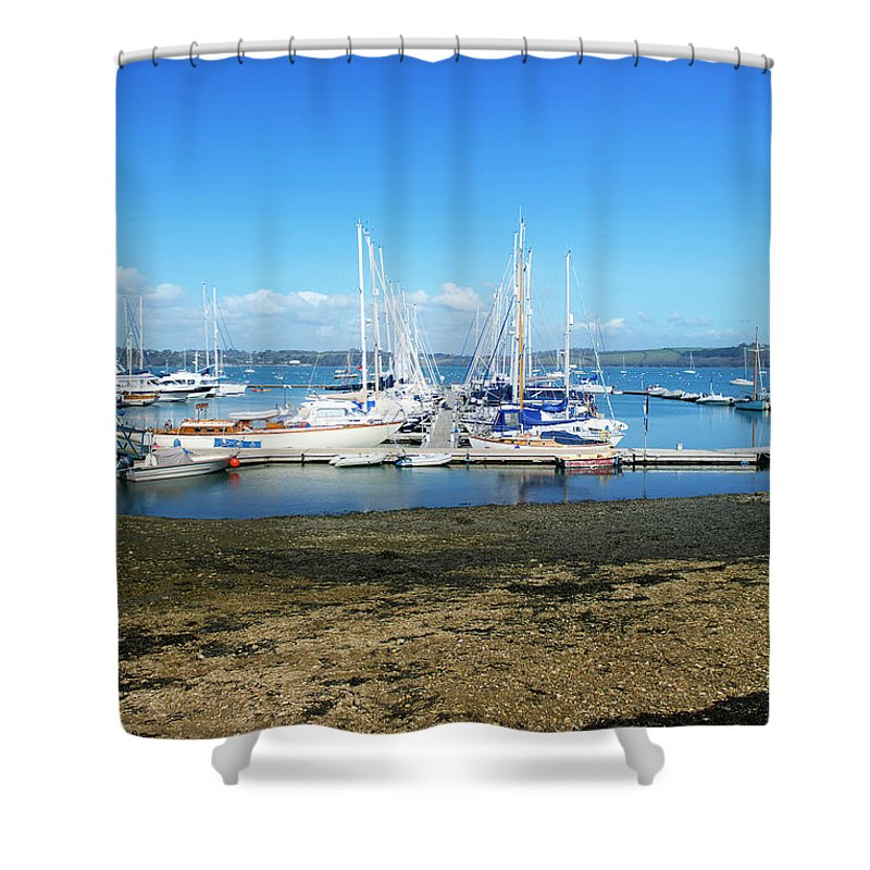Mylor Shower Curtain featuring the photograph Mylor Yacht Pontoon by Terri Waters