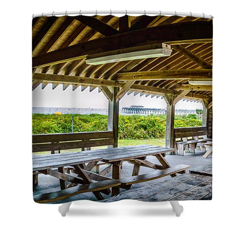 Beach Shower Curtain Featuring The Photograph Myrtle Beach State Park  Picnic Shelter By David Smith