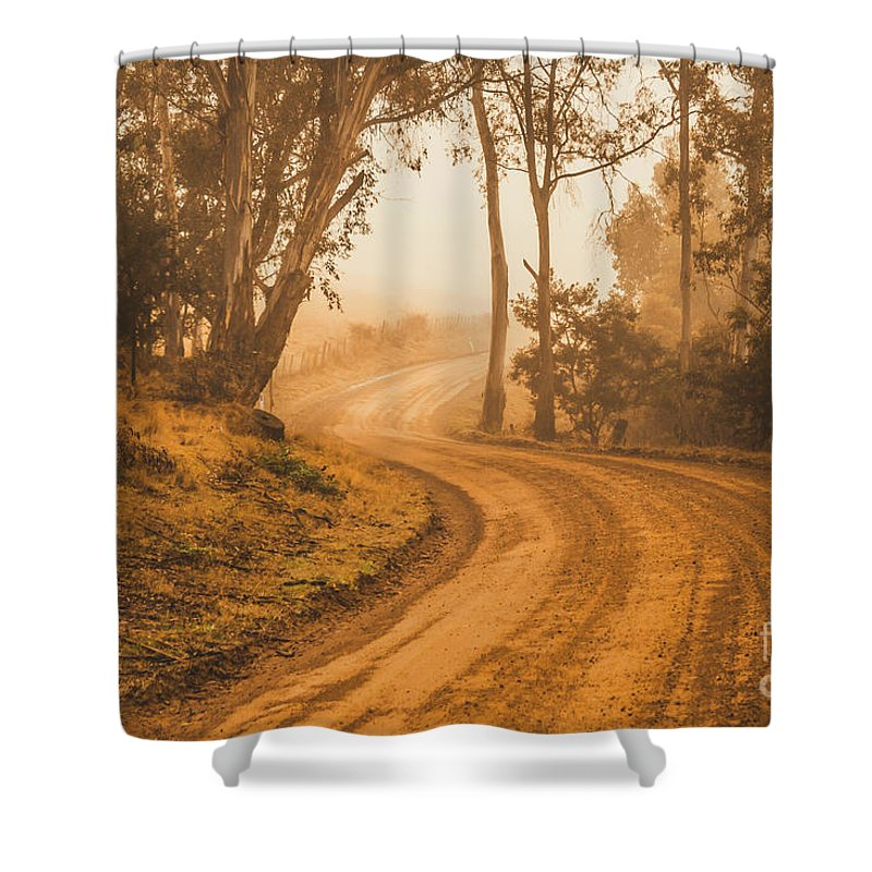 Landscape Shower Curtain featuring the photograph Mysterious Autumn Trail by Jorgo Photography - Wall Art Gallery