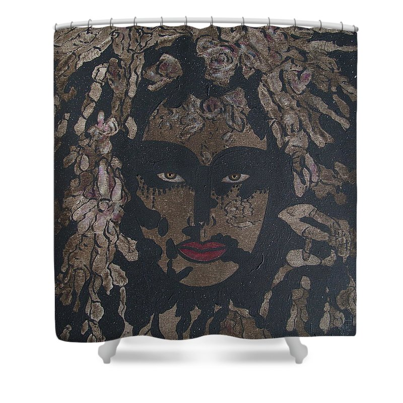 Figurative Shower Curtain featuring the painting Mysterious Desire by Natalie Holland
