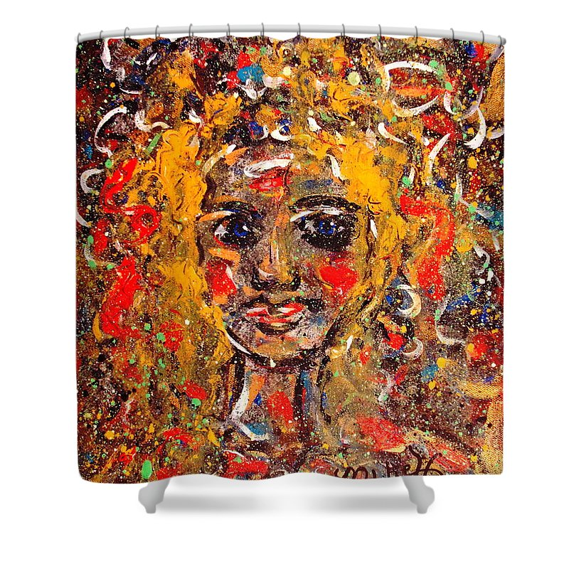 Impressionism Shower Curtain featuring the painting Mysterious Eyes by Natalie Holland