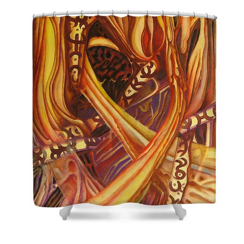 Abstraction Shower Curtain featuring the painting Mystery Signs by Rita Fetisov