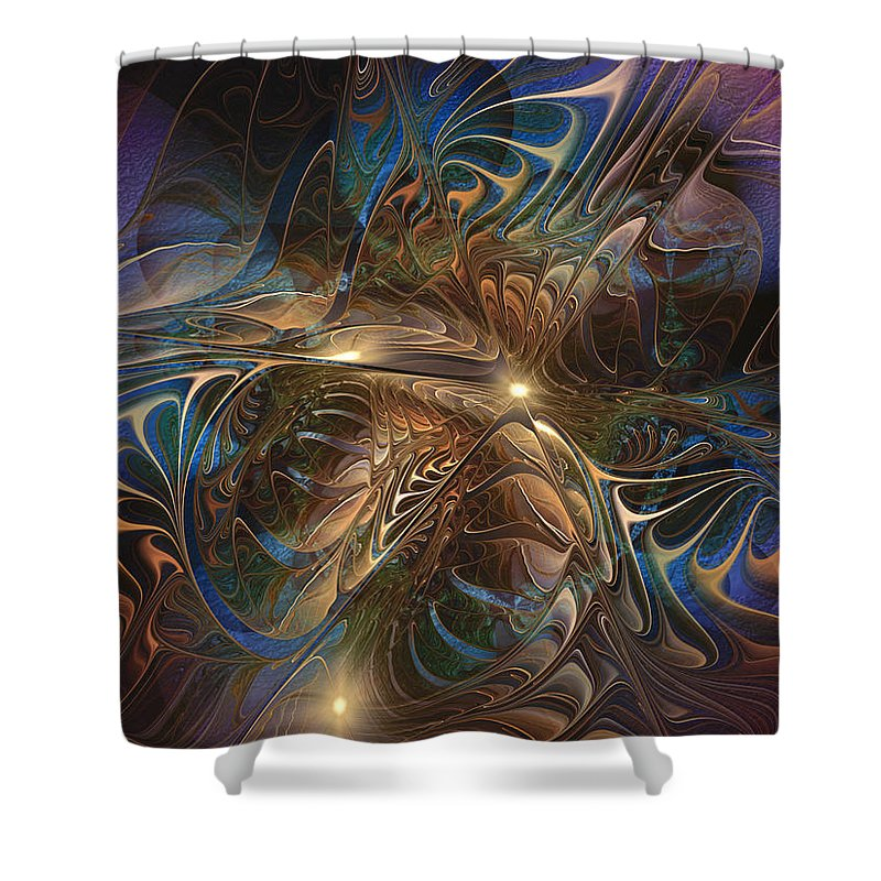 Abstract Shower Curtain featuring the digital art Mystery Spread Its Cloak by Casey Kotas