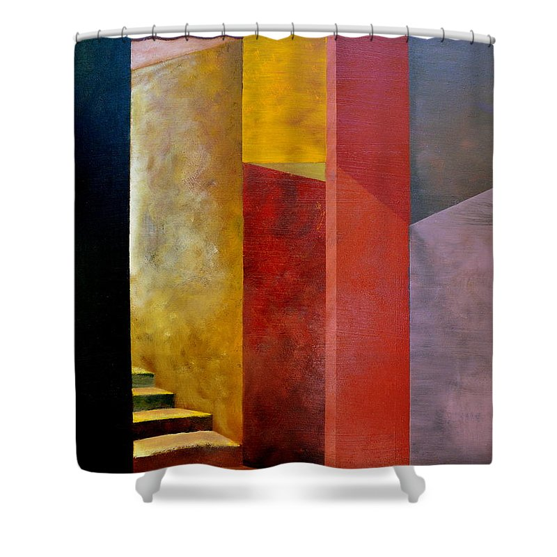 Gold Shower Curtain featuring the painting Mystery Stairway by Michelle Calkins