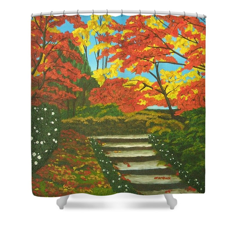 Fall Landscape Shower Curtain featuring the painting Mystery Walk by Brandy House