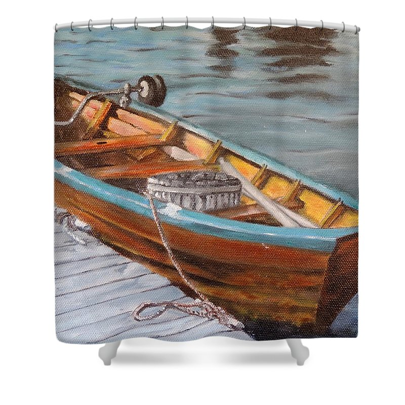 Mystic Shower Curtain featuring the painting Mystic Fishing Boat by Jodi Higgins