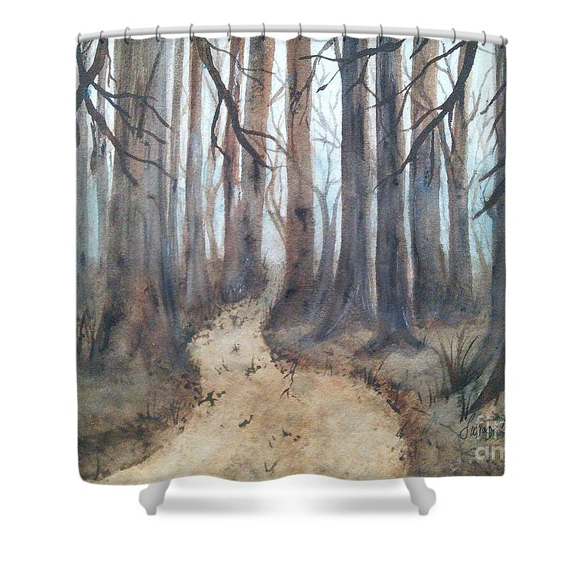 Dark Shower Curtain featuring the painting Mystic Forest by Susan Nielsen