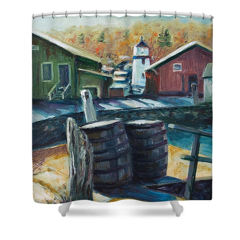 New England Shower Curtain featuring the painting Mystic Harbor by Rick Nederlof