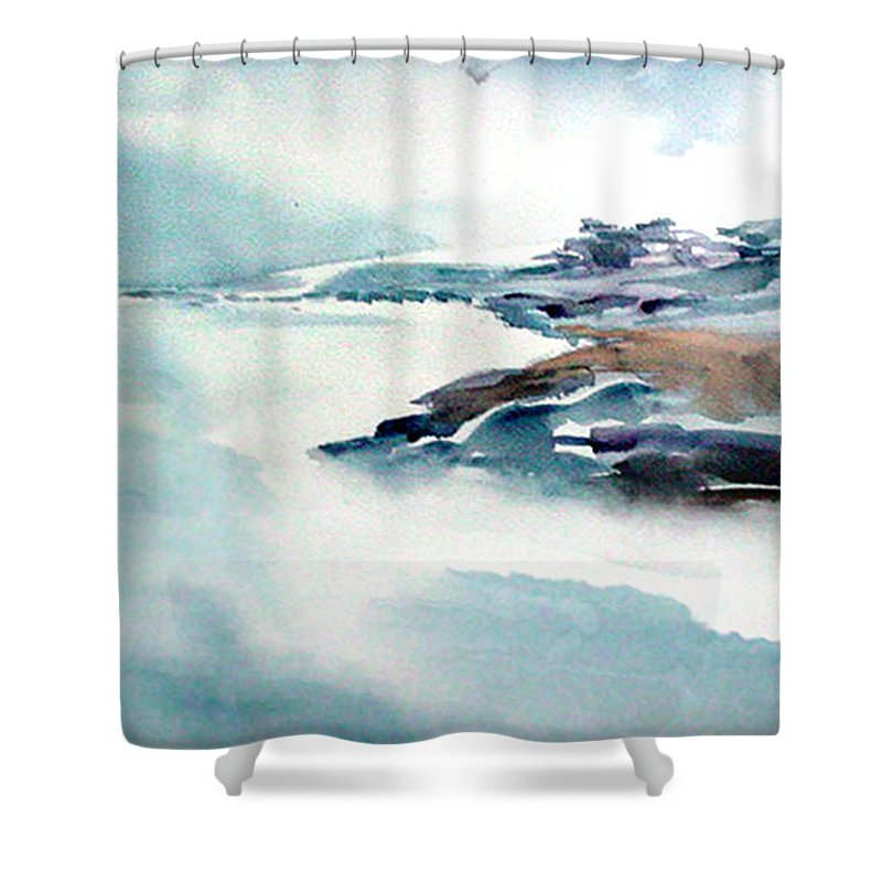 River Shower Curtain featuring the painting Mystic River by Anil Nene
