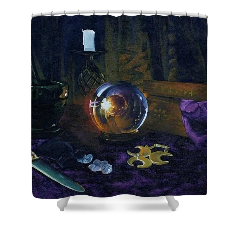 Still Life Mystic Crystal Ball Pestle Mortar Knife Runes Horse Brasspuple Silk Candle Shower Curtain featuring the painting Mystic Still Life by Pauline Sharp