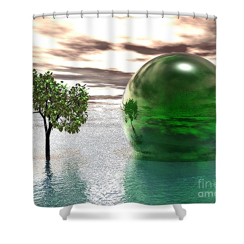 Surreal Shower Curtain featuring the digital art Mystic Surreal In Green by Oscar Basurto Carbonell