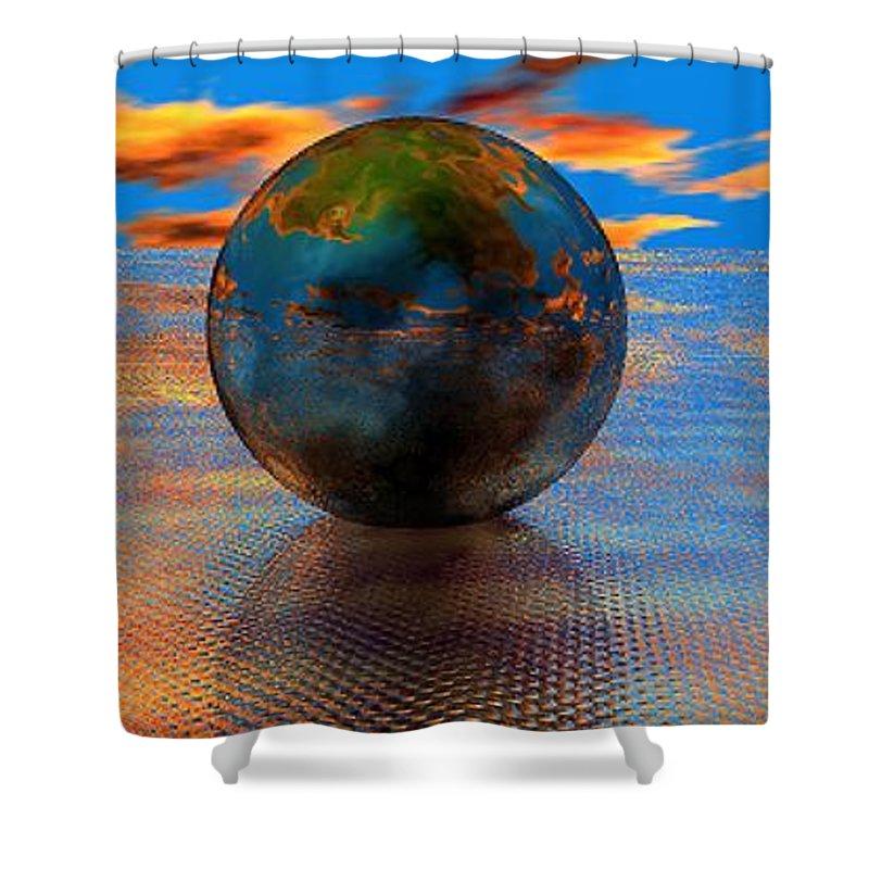 Mystical Shower Curtain featuring the digital art Mystical Blue by Oscar Basurto Carbonell
