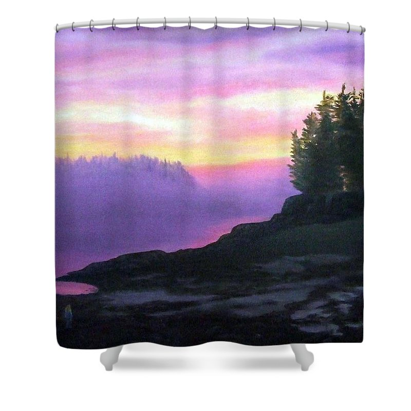 Sunset Shower Curtain featuring the painting Mystical Sunset by Sharon E Allen