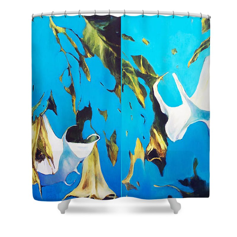 Lin Petershagen Shower Curtain featuring the painting Mysticoblue by Lin Petershagen
